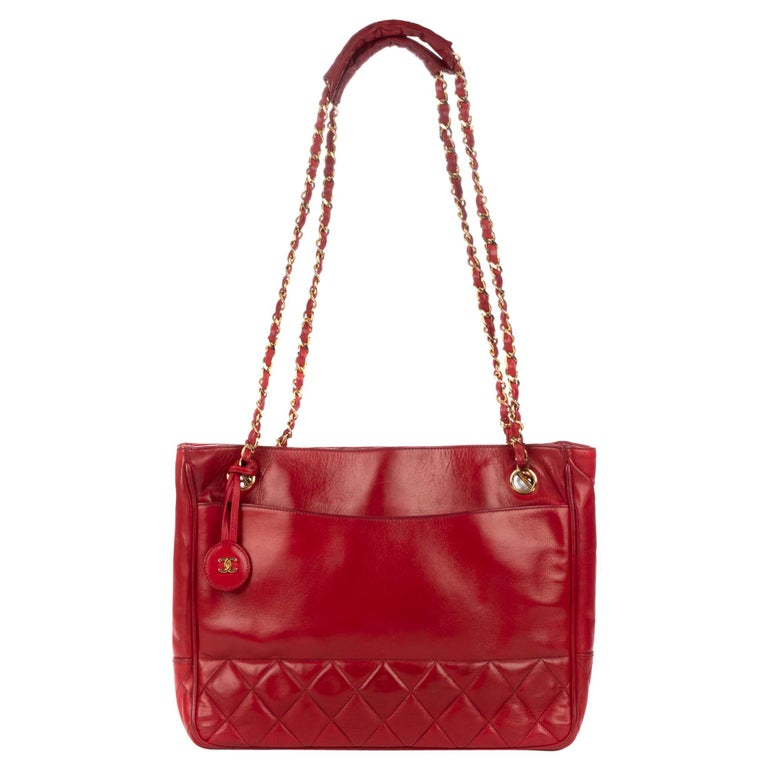 4b1ab5d96a5362 Chanel Red Lamb Leather Vintage Shoulder Bag For Sale at 1stdibs