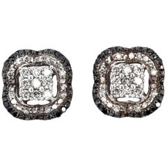 Black Diamond and White Diamond Earrings