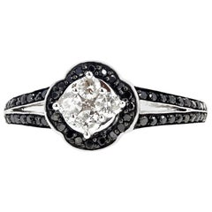 Gemjunky Dalmation White Diamond & Black Diamond Engagement Ring