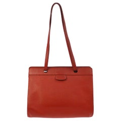 Hermes Red Leather Top Handle Satchel Carryall Travel Shoulder Tote Bag