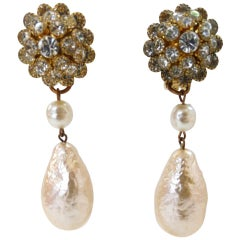 1960s Christian Dior Freshwater Pearl Drop Earrings