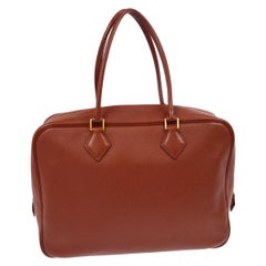 Hermes Leather Gold Carryall Bowling Evening Top Handle Satchel Bag