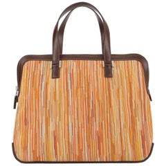 Hermes Brown Multi Color Carryall Bowling Evening Top Handle Satchel Bag