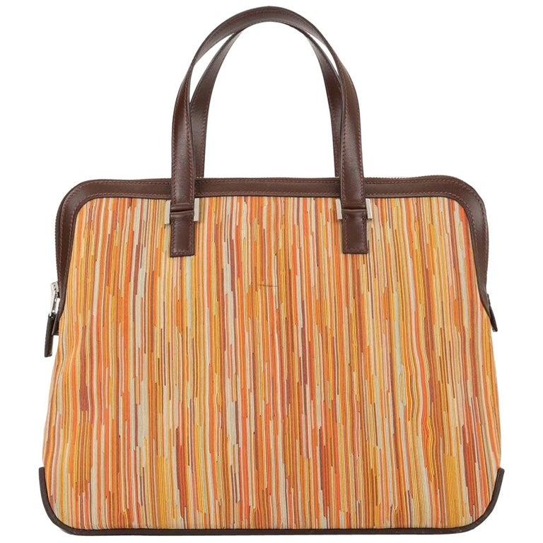 Hermes Brown Multi Color Carryall Bowling Evening Top Handle Satchel Bag  For Sale