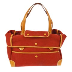 Hermes Red Cognac Canvas Carryall Bowling Evening Top Handle Satchel Tote Bag