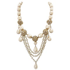 Christian Dior 1960s Glass Pearl Necklace