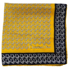 Dior Trotter Monogram Black & Yellow Silk Scarf