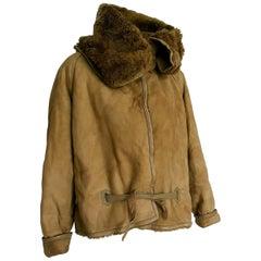 "Gianni VERSACE ""New"" Green Beige Leather Fur lined Aviator model Jacket - Unworn"