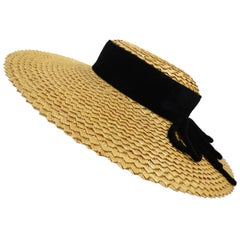 1950s Parisian Straw Wide Brim Boater Hat