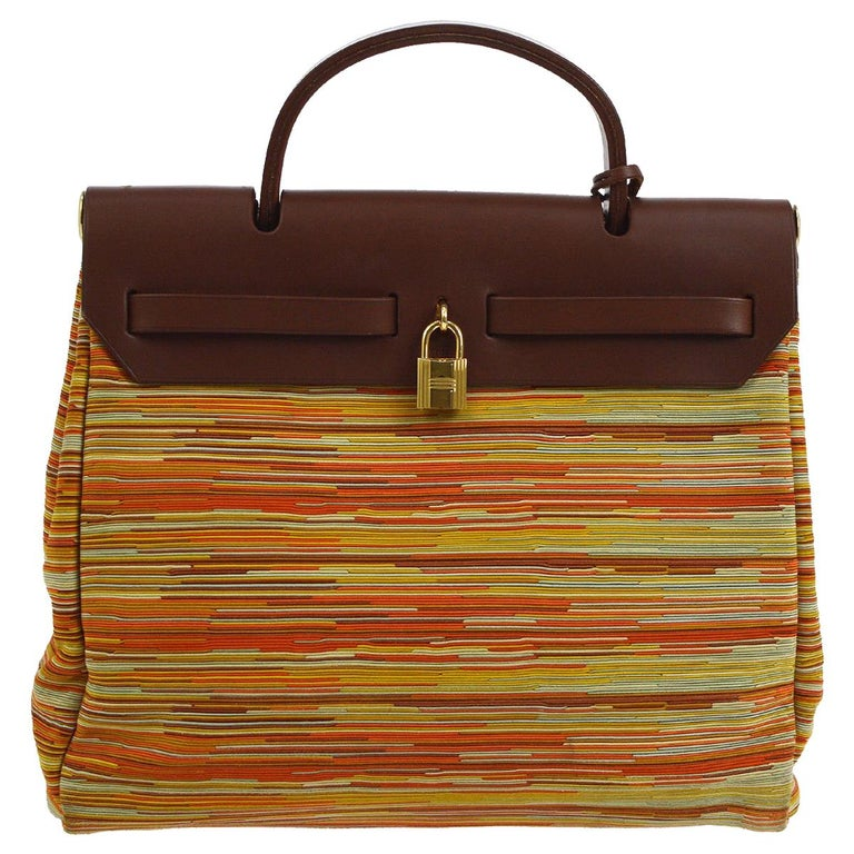 Hermes Brown Multi Color Carryall Bowling Evening Top Handle Satchel Bag  For Sale