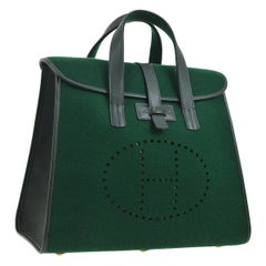 Hermes Green Felt Brown Leather Carryall Top Handle Satchel Travel Tote Bag