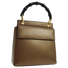 Gucci Bronze Leather Bamboo Top Handle Satchel Kelly Style Evening Flap Bag