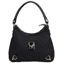 Gucci Black Jacquard Fabric GG Abbey Shoulder Bag Italy