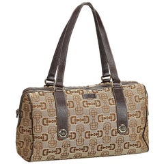 Gucci Brown Jacquard Fabric Horsebit Print Handbag Italy