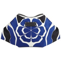 Alexander Mcqueen Blue Satin Fabric De Manta Union Jack Clutch Bag Italy