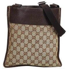 Gucci Brown Beige Jacquard Fabric GG Crossbody Bag Italy