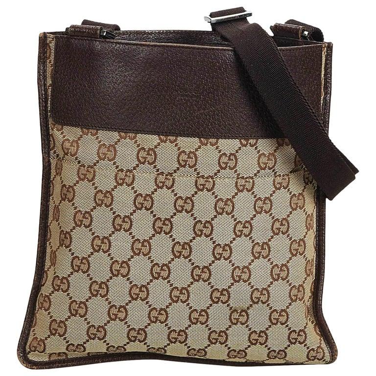 caa42748e94f Gucci Brown Beige Jacquard Fabric GG Crossbody Bag Italy at 1stdibs