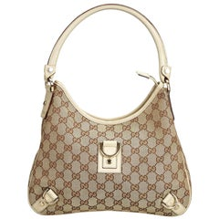 Gucci Brown Beige Jacquard Fabric GG Abbey Shoulder Bag Italy w/ Dust Bag