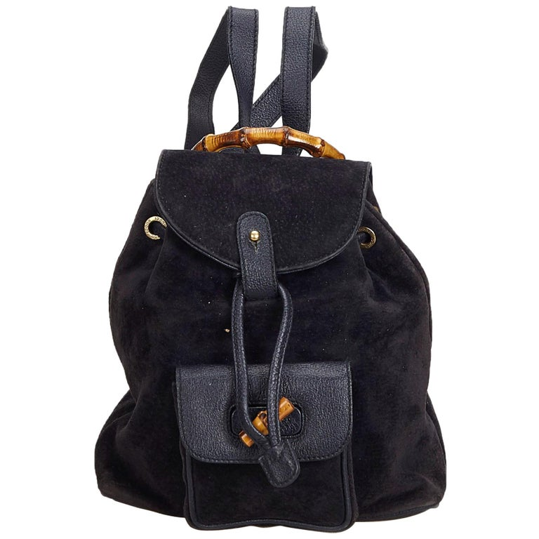32bdac46d2e9 Gucci Black Suede Leather Bamboo Drawstring Backpack Italy For Sale ...