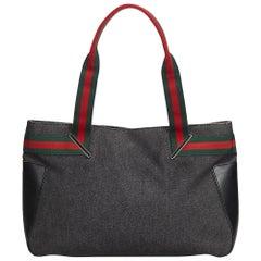 Gucci Black Denim Fabric Web Handbag Italy