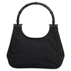 Gucci Black Nylon Fabric Bamboo Handbag Italy