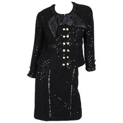 Chanel 2-pcs Sequin Suit Jacket & Skirt - black 1983