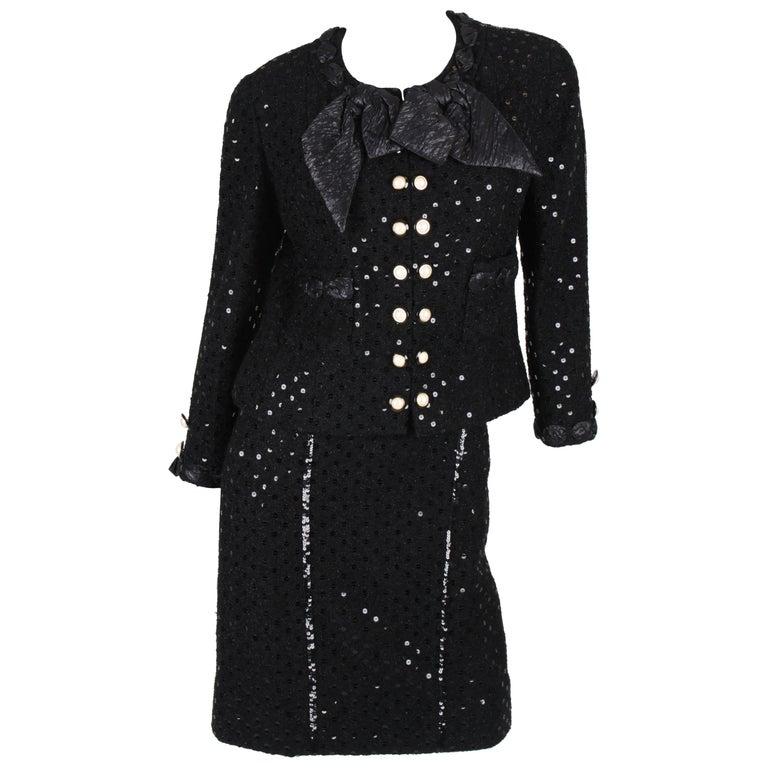 Chanel 2-pcs Sequin Suit Jacket & Skirt - black 1983 For Sale