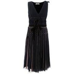Prada Black Pleated Silk Midi Dress US 4