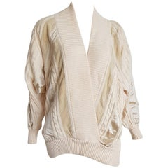 "HERMES ""New"" White Cream Wool Collection Sweater Silk Suede Strips - Unworn"