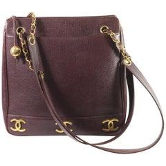 Chanel Burgundy  Caviar  Leather Vintage Shopper Bag Triple Logo