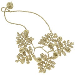 Gold Color Thread Yellow Crystal Contemporary Art Nouveau Style Fashion Necklace