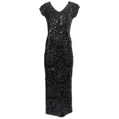 1960s Unlabeled Stretch Knit Dress Densley Covered in Paillettes Beads & Sequins