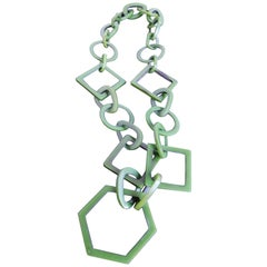 Vintage Italian Green Celluloid Geometric Link Necklace