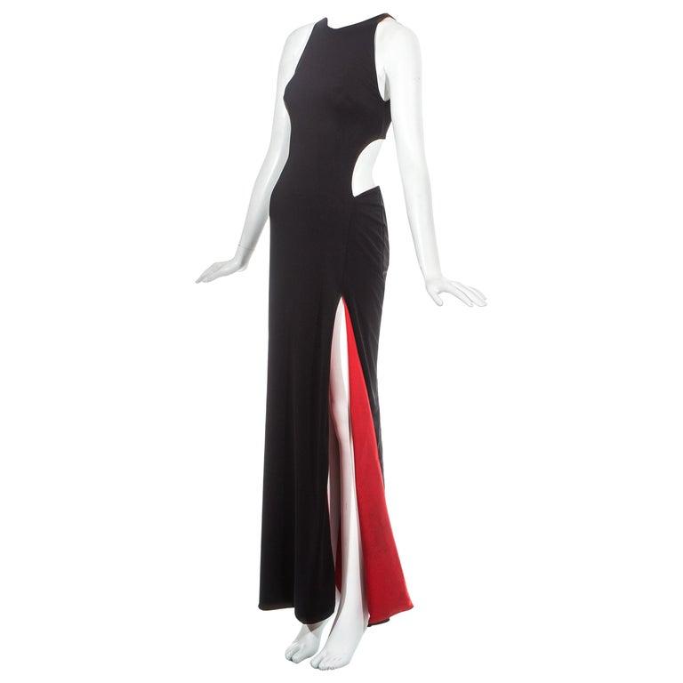 3ba76470e1b Gianni Versace black jersey evening dress with cut out and leg slit ...