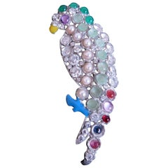 French Metal and Rhinestone Parrot Brooch