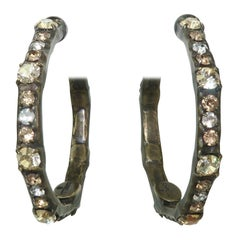 Sorrelli Brass & Rhinestone Hoop Earrings