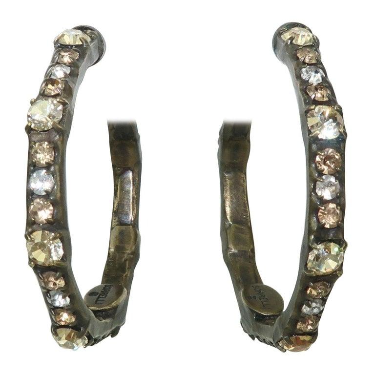 388528d71 Sorrelli Brass and Rhinestone Hoop Earrings For Sale at 1stdibs