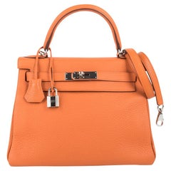 Hermes Kelly 28 Retourne Bag H Orange Togo Palladium