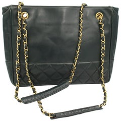 Chanel Vintage Dark Olive Green Shopper Bag