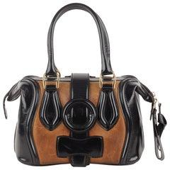 Balenciaga Tan and Black Leather Doctor Bag Top Handle Bag