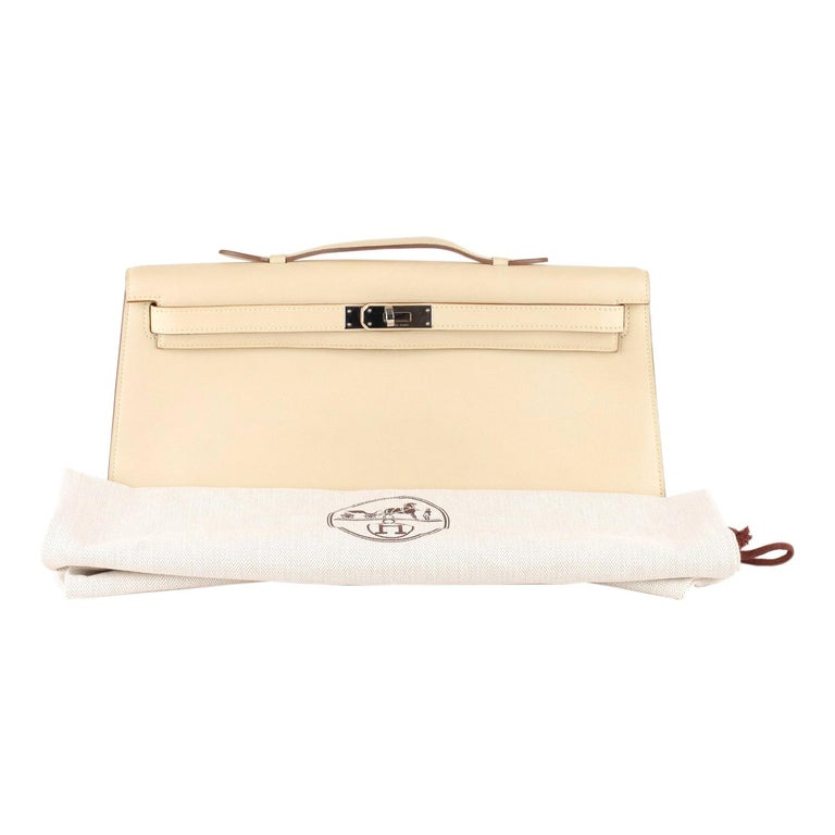 Hermes Beige Leather Kelly Cut Clutch Bag Pochette For Sale
