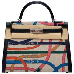 "Hermes Toile de Camp Limited Edition 32cm ""Cavalcadour"" Kelly Bag"
