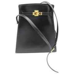 Vintage  Hermes Mini  Kelly Sport Bag in Black Box Leather