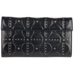 Alaia Black Embossed Leather Clutch Bag Handbag with Studs
