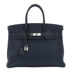 Hermes Birkin Handbag Bleu de Prusse Togo with Palladium Hardware 35