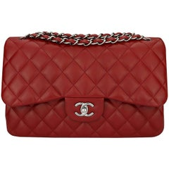 CHANEL Double Flap Jumbo Bag Red Lambskin with Light Gunmetal Hardware 2014