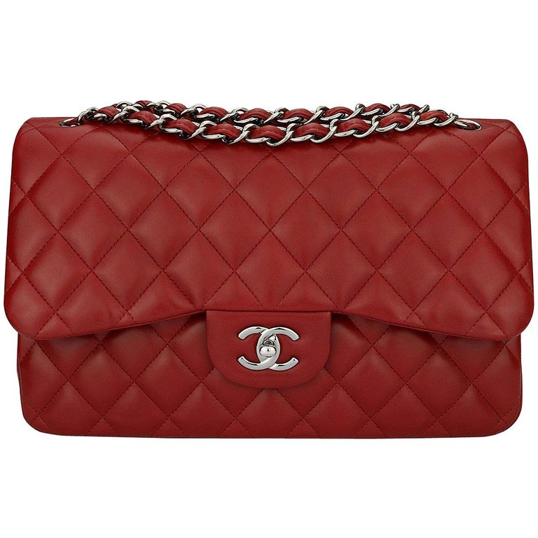 33c1c31d421e CHANEL Double Flap Jumbo Bag Red Lambskin with Light Gunmetal Hardware 2014  For Sale. Authentic CHANEL Classic ...