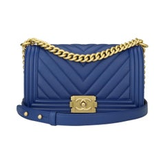 Chanel Old Medium Boy Bag Blue Calfskin Chevron with Brushed Gold Hardware 2018