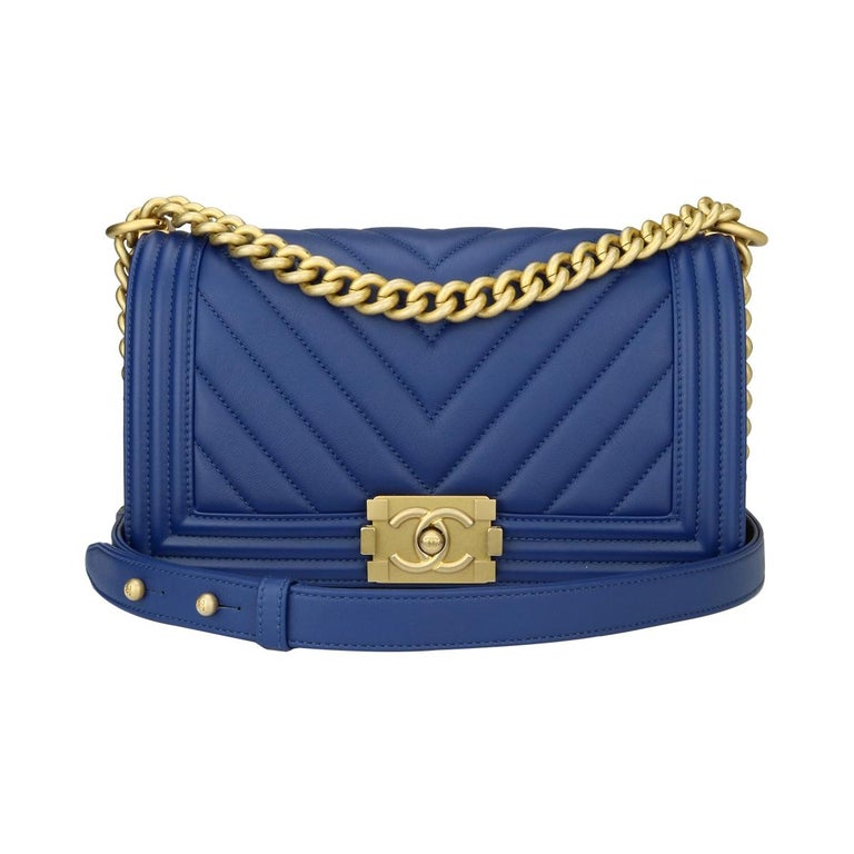 7d5da5c95915 Chanel Old Medium Boy Bag Blue Calfskin Chevron with Brushed Gold Hardware  2018 For Sale