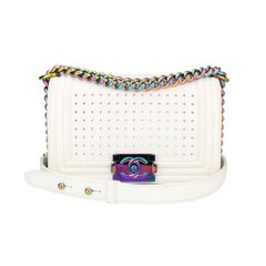 Chanel Small LED Boy Bag White Lambskin with Rainbow Hardware, 2017